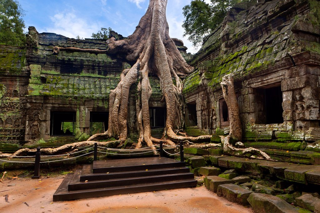 Stock Photo: 1566-804825 Ta Prohm is the modern name of a temple at Angkor, Siem Reap Province, Cambodia, built in the Bayon style largely in the late 12th and early 13th centuries and originally called Rajavihara Located approximately one kilometre east of Angkor Thom and on the. Ta Prohm is the modern name of a temple at Angkor, Siem Reap Province, Cambodia, built in the Bayon style largely in the late 12th and early 13th centuries and originally called Rajavihara Located approximately one kilometre east of Angkor Tho