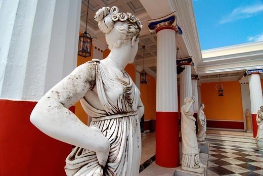 Empress Elisabeth Amalie Eugenie also known as Sissi or Sisi Palace called Achilleon in Gastouri on greek island of Corfu : Stock Photo