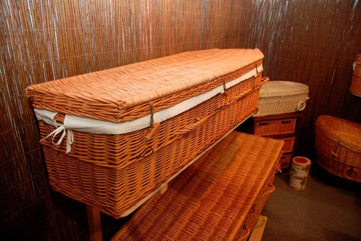 Wicker coffins on ´Memento´ Funeral Expo in Warsaw, Poland : Stock Photo