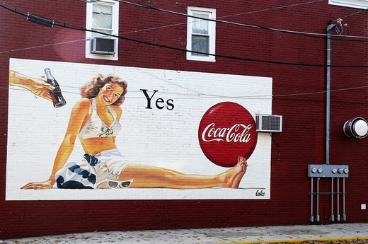 Stock Photo: 1566-804986 Old advertisement of coca-cola on building´s wall, Bristol, Bucks County, Pennsylvania,USA,North America