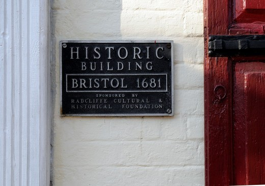 Typical sign on the old buildings, Bristol, Bucks County, Pennsylvania,USA,North America, : Stock Photo