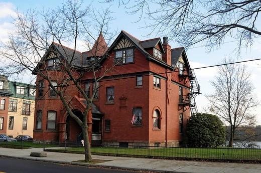 Stock Photo: 1566-804995 Old red building- Bristol, Bucks County, Pennsylvania,USA,North America