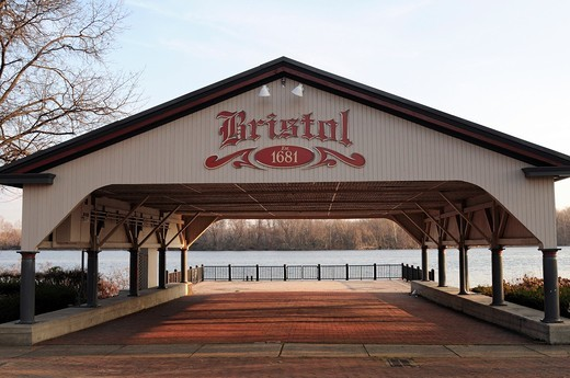 Wharf along Delaware River,Lions Park,Bristol, Bucks County, Pennsylvania,USA,North America, : Stock Photo