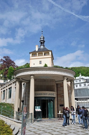 Stock Photo: 1566-805041 Zamecke lazne with kolonada, Karlovy Vary, Czech Republic, East Europe