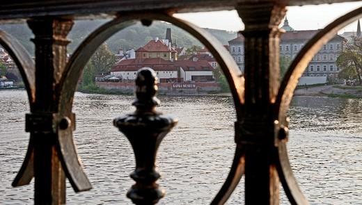 View on Kafka museum through metal fence, Prague, Czech Republic, Central Europe : Stock Photo