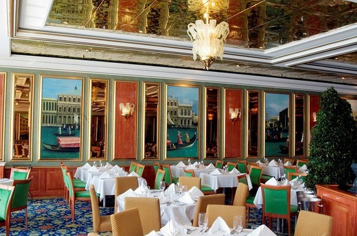 Inside of Venicean restaurant, Norwegian Dawn cruise ship, Western Caribbean : Stock Photo