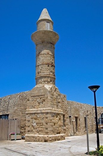 Ancient tower, Caesarea National Park, Israel, Mediterranean cost, Asia : Stock Photo