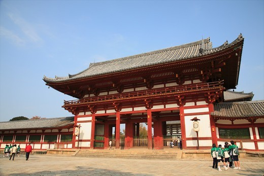 Stock Photo: 1566-805353 Todaiji Temple Main Gate, Nara, Japan  The world famous Todaiji Temple designated as world heritage contains various pavilions and halls including many designated as national treasures of Japan Among them the Daibutsuden Hall is the world s largest wooden. Todaiji Temple Main Gate, Nara, Japan  The world famous Todaiji Temple designated as world heritage contains various pavilions and halls including many designated as national treasures of Japan Among them the Daibutsuden Hall is the world s la