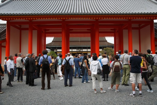Imperial Palace, Kyoto, Japan  Kyoto Imperial Palace Kyoto Gosho used to be the residence of Japan´s Imperial Family until 1868, when the emperor and capital were moved from Kyoto to Tokyo  It is located in the spacious Kyoto Imperial Park : Stock Photo