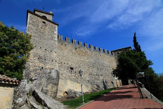 Republic of San Marino, City of San Marino, Guaita  The first, oldest andmost famous of the three towers  It was constructed in the 11th century and served briefly as a prison : Stock Photo