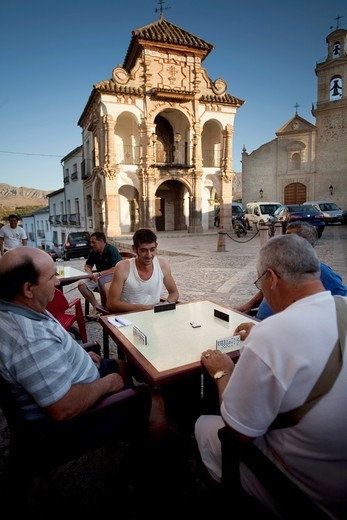 Stock Photo: 1566-805648 Portichuelo Square, with its beautiful chapel-Tribune Virgen del Socorro 1715, Antequera, Andalusia, Spain