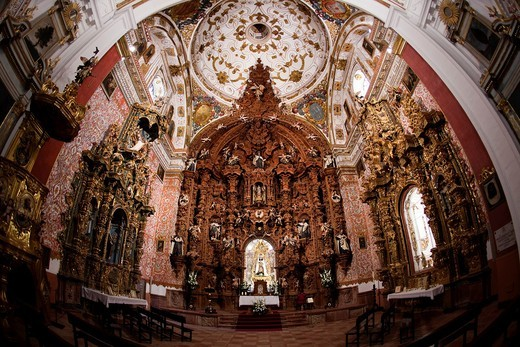 Magnificent Church of the Carmen de Antequera, considered one of the main jewels of Andalusian Baroque  His work began in the late XVI century recently restored, Antequera, Andalusia, Spain : Stock Photo