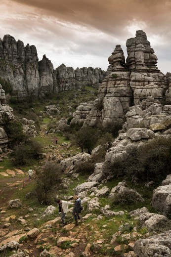 Spectacular karst landscapes from Torcal of Antequera, Malaga, Andalusia, Spain : Stock Photo