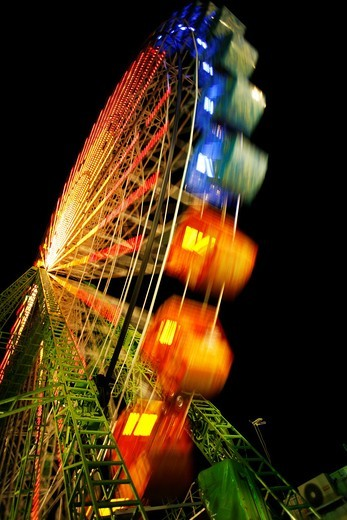 Lights and abstractions in the night fair : Stock Photo