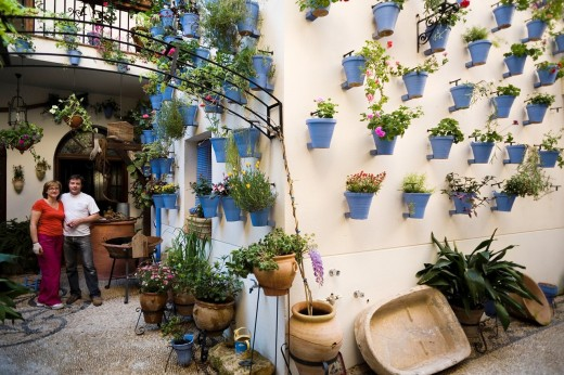 When approaching the month of May, many cordes manage their backyards to participate in the contest held patios in the city : Stock Photo