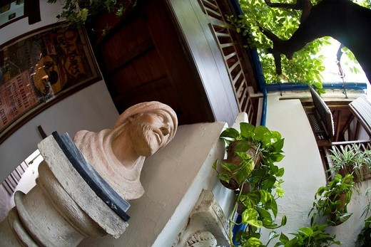 Cordoba´s courtyard with beautiful bust of the philosopher Maimonides in ´vestry´ of the restaurant El Churrasco ´Córdoba : Stock Photo