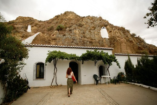 Stock Photo: 1566-806015 ´Pedro Antonio de Alarcon´ Cave dwellings  Guadix, Granada, Andalusia, Spain