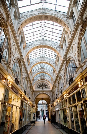 Interior of a commercial gallery which ancient walked Jules Verne  Nantes, Loire, France, Europe : Stock Photo