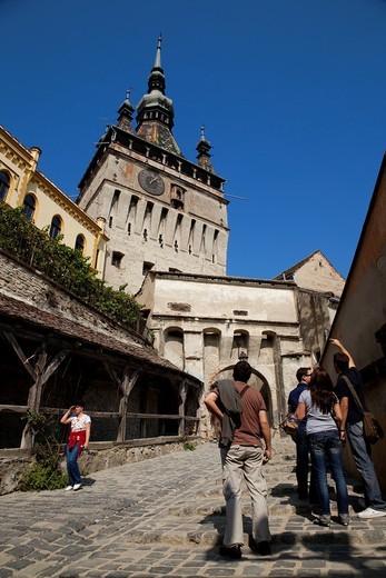 Stock Photo: 1566-806117 Tourists in Sighisoara  Sighisoara, Transylvania, Romania, Europe
