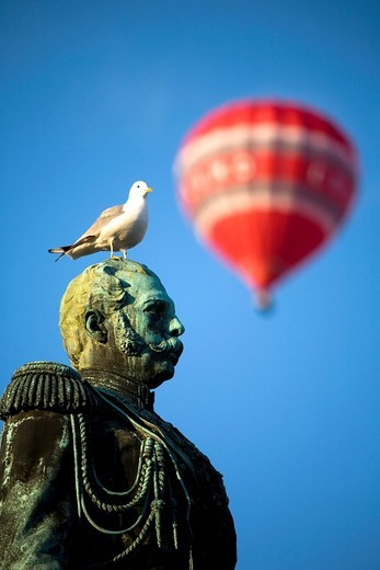 Stock Photo: 1566-806301 Czar Alexander II sculpture, in the Senate Square  At the end, a balloon  Helsinki, Uusimaa, Finland, Europe