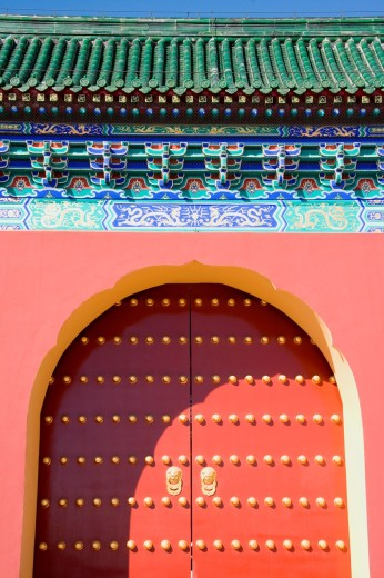 Stock Photo: 1566-806336 Gate in the Temple of Heaven site in Beijing, China