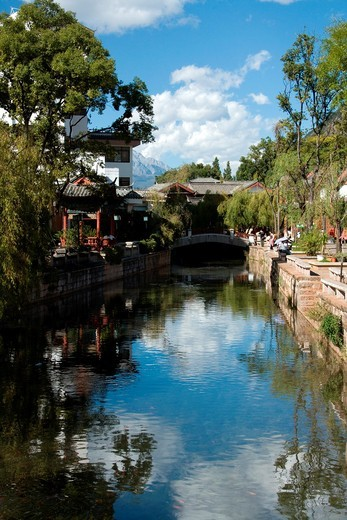 Small bridge in old town Lijiang,China : Stock Photo