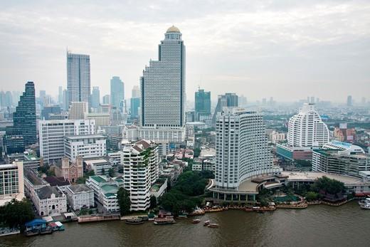 Bangkok Skyline form the Chao Phraya River, Thailand : Stock Photo