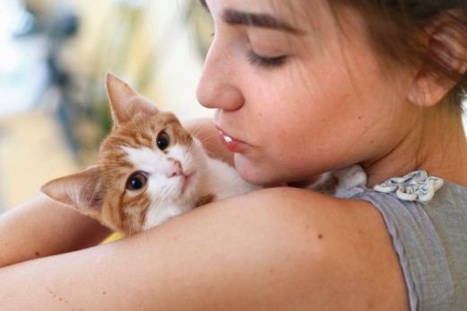 Happy young woman and red kitten : Stock Photo