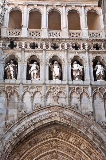 Detail above Puerta del Juicio Final, Door of the Last Judgment, Main facade, Toledo Cathedral, Spain : Stock Photo