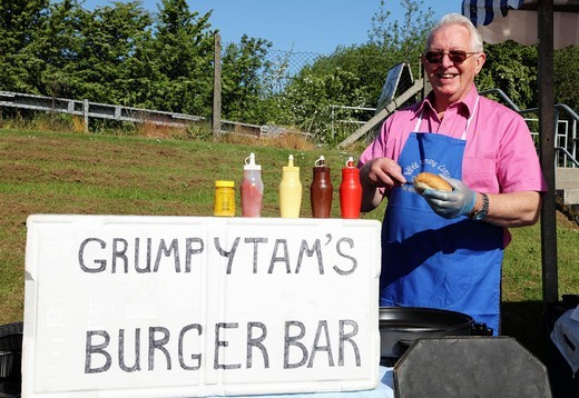 Grumpy Tam´s hamburger stall at Clarkston open air market, Glasgow, Scotland, UK, Great Britain : Stock Photo