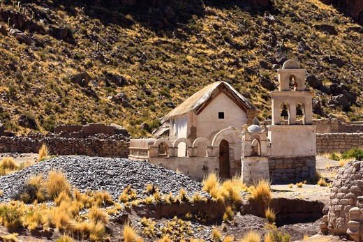 Church in Acaya village in Bolivia, to the north of Salinas de Garci-Mendoza : Stock Photo