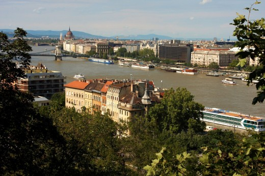Stock Photo: 1566-808284 Danube river view from Gellert Hill Gellért-hegy in Budapest, Hungary