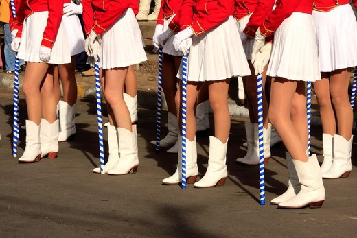 Stock Photo: 1566-808478 A group of girls standing during the celebration of the Independence Day in Chilecito, Argentina