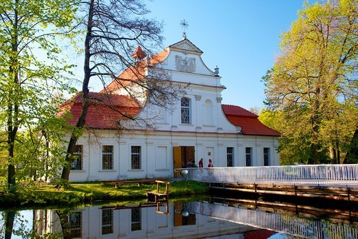 St John Nepomucene´s John of Nepomuk parish church in Zwierzyniec Poland : Stock Photo