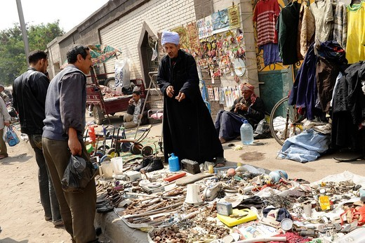 traders and customers at souk goma friday market , Southern Cemeteries , Khalifa district , cairo , egypt : Stock Photo