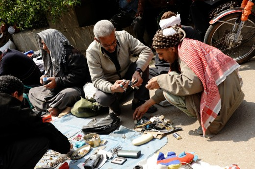 Stock Photo: 1566-810290 traders and customers at souk goma friday market , Southern Cemeteries , Khalifa district , cairo , egypt