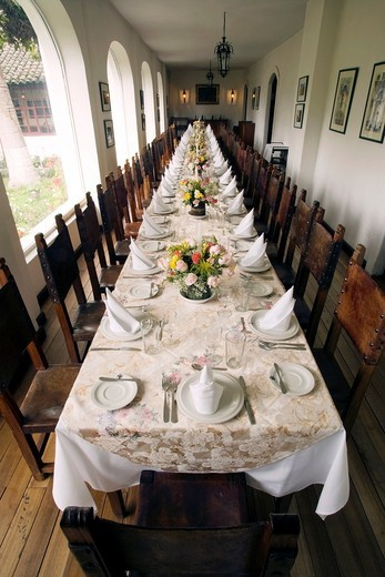 Dining Room - La Cienega Hotel - Cotopaxi, Ecuador : Stock Photo