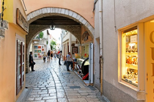 Stock Photo: 1566-812562 Shops at narrow street, Rab Town on Rab Island, Croatia