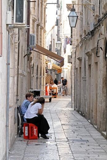 Stock Photo: 1566-812712 Restaurants at street of Dubrovnik, Croatia