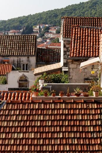 Roofs of Korcula houses, Croatia : Stock Photo