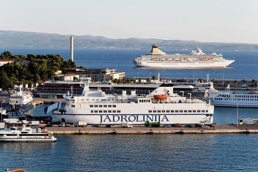 Jadrolinija ferry, most popular way of travel, here by Split, Croatia : Stock Photo
