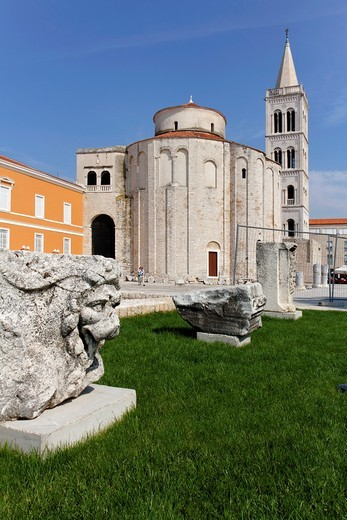 Circular St Donat´s Church and the Bell tower of Zadar Cathedral on the old Roman Forum, Zadar, Dalmatia, Croatia : Stock Photo
