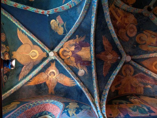 Medieval frescoes roof in Chapel of the Holy Trinity, Castle, Lublin, Poland : Stock Photo