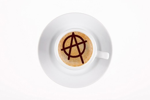 digital enhancement - clip image - circle A on cafe crema coffee foam - symbolism for anarchism : Stock Photo