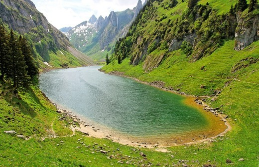 Stock Photo: 1566-813431 lake falensee or fahlensee - alpstein mountain range - canton of appenzell-innerrhoden - switzerland