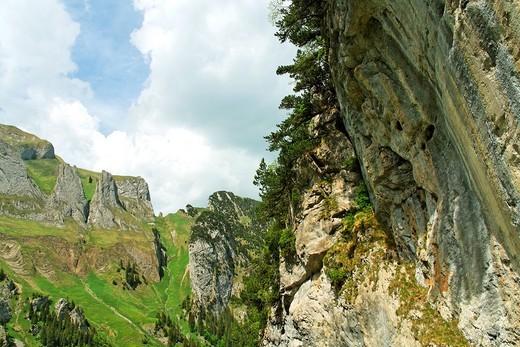 mount dreifaltigkeit near lake falensee or fahlensee - alpstein mountain range - canton of appenzell-innerrhoden - switzerland : Stock Photo