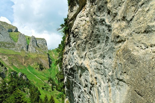 mount dreifaltigkeit near lake falensee or fahlensee - alpstein mountain range - canton of appenzell-innerrhoden - switzerland : Stock Photo