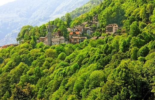 Stock Photo: 1566-813480 village of russo - onsernone valley near village of mosogno - canton of ticino - switzerland