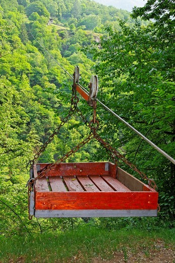 Stock Photo: 1566-813543 ropeway for material transport to mountain pasture huts - onsernone valley - canton of ticino - switzerland