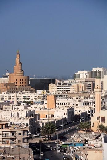Stock Photo: 1566-813605 Qatar, Doha, general aerial view, Islamic Cultural Center